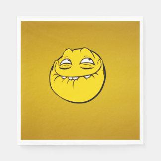 Meme Face Smiley Emoticon Yelow Funny Head Troll Standard Luncheon Napkin