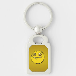 Meme Face Smiley Emoticon Yelow Funny Head Troll Silver-Colored Rectangular Metal Keychain