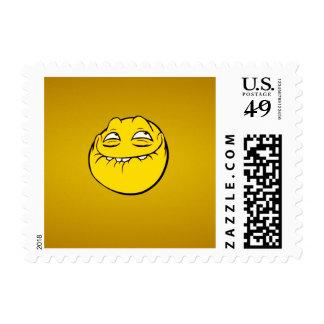 Meme Face Smiley Emoticon Yelow Funny Head Troll Postage