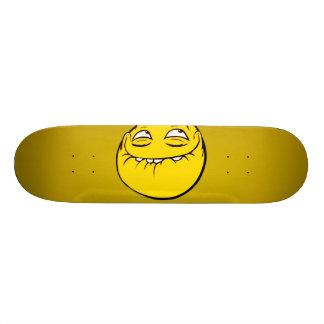 Meme Face Smiley Emoticon Yelow Funny Head Troll Skateboard