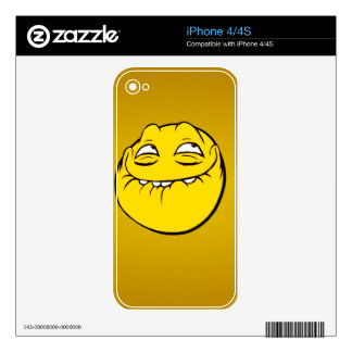 Meme Face Smiley Emoticon Yelow Funny Head Troll Skin For iPhone 4