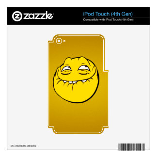 Meme Face Smiley Emoticon Yelow Funny Head Troll Skin For iPod Touch 4G