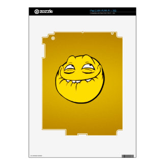 Meme Face Smiley Emoticon Yelow Funny Head Troll Skin For The iPad 2