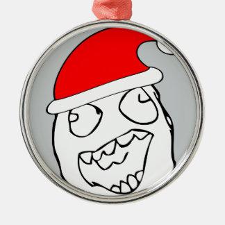 Meme feliz de Navidad del derp Adorno Redondo Plateado