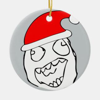 Meme feliz de Navidad del derp Adorno Redondo De Cerámica