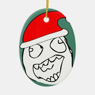 Meme feliz de Navidad del derp Adorno Ovalado De Cerámica