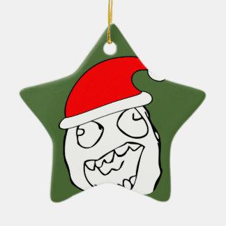 Meme feliz de Navidad del derp Adorno De Cerámica En Forma De Estrella