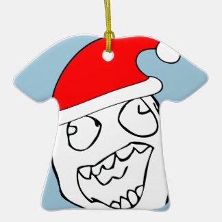 Meme feliz de Navidad del derp Adorno De Cerámica En Forma De Camiseta