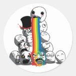 Meme hace frente a la insignia del arco iris pegatina redonda