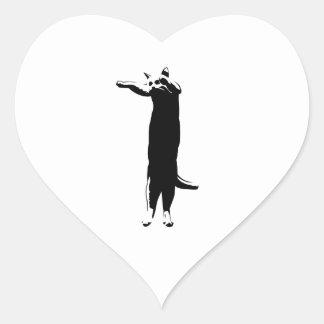 Meme largo del gato pegatina corazon personalizadas