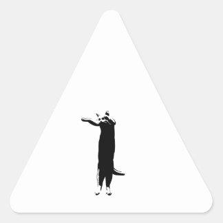 Meme largo del gato calcomanías de triangulos personalizadas