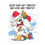 Meme nevoso divertido de santa del búho tarjeta postal