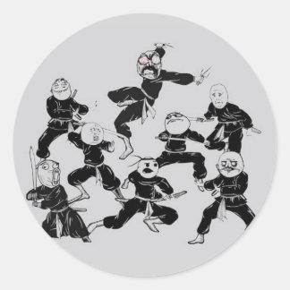 meme ninja gang classic round sticker