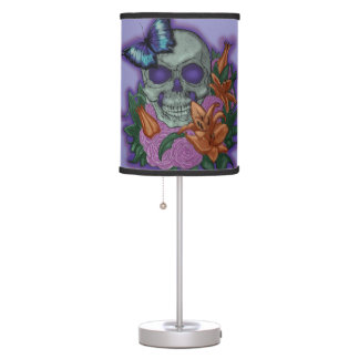 Memento Amare Skull and Lilies - Violet Color Table Lamp