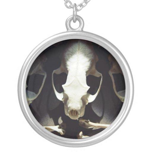 Memento Mori Skull & Bones Round Pendant Necklace