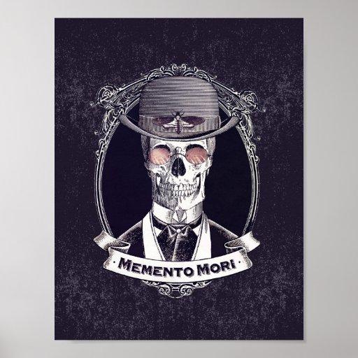 Memento Mori Vintage Steampunk Skull Poster