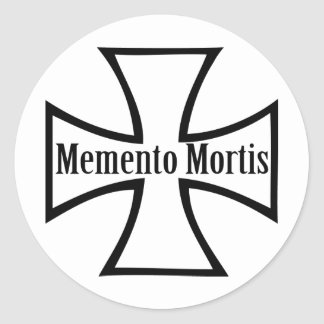 memento mortis cross icon classic round sticker