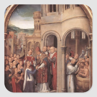 Memling-Llegada de Hans de Santa Ursula y de Pegatina Cuadrada