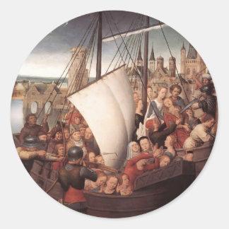 Memling-Martirio de Hans de Santa Ursula y de Pegatina Redonda