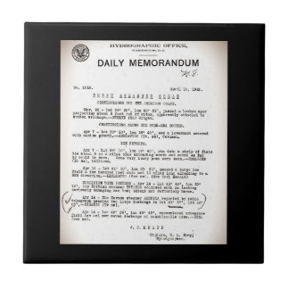 Memo from Hydrographic Office Titanic Disaster Ceramic Tile