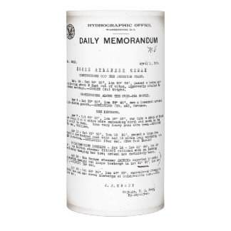 Memo from Hydrographic Office Titanic Disaster Flameless Candle