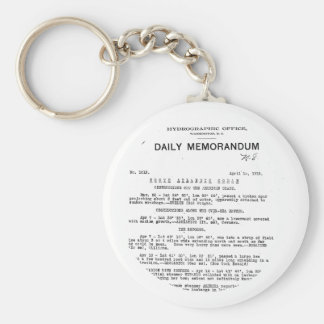 Memo from Hydrographic Office Titanic Disaster Keychain