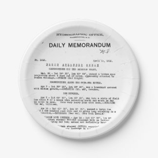 Memo from Hydrographic Office Titanic Disaster Paper Plate