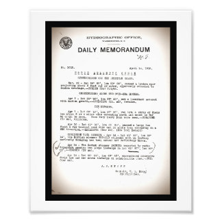 Memo from Hydrographic Office Titanic Disaster Photo Print