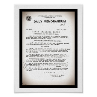 Memo from Hydrographic Office Titanic Disaster Poster