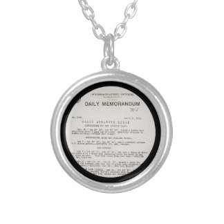 Memo from Hydrographic Office Titanic Disaster Silver Plated Necklace