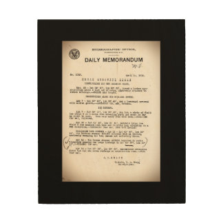 Memo from Hydrographic Office Titanic Disaster Wood Print