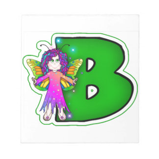 Memo Pad Cute Fairy Initial Green B