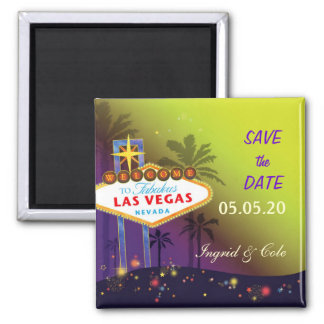 Memorable Las Vegas Wedding Night Save the Date 2 Inch Square Magnet