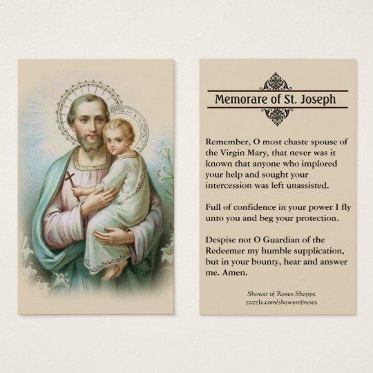 image about Memorare Prayer Printable named Memorare Prayer St. Joseph Jesus Holy Card