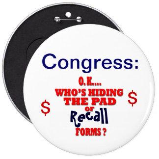 Memoria del congreso pin redondo de 6 pulgadas