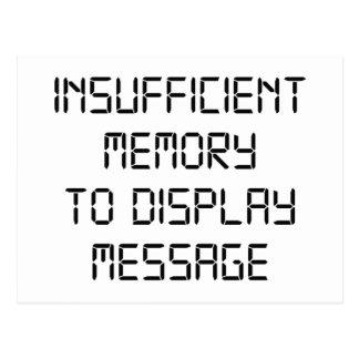 Memoria escasa para exhibir el mensaje postales