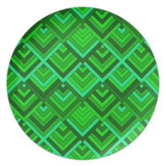 memoria formada de los años 60, verde platos para fiestas