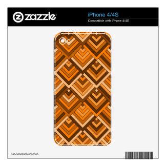 memoria formada del naranja marrón de los años 60 skins para iPhone 4