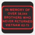 Memoria - hermanos que nunca volvieron Vietnam 62- Calcomanía Cuadradas