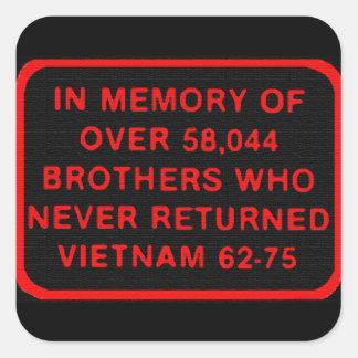 Memoria - hermanos que nunca volvieron Vietnam Pegatina Cuadrada