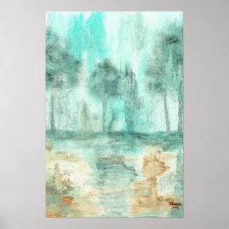 Memoria, pintura abstracta del arte de los árboles poster