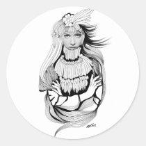 artsprojekt, origin, history, aboriginal, girl, woman, female, earth, women, sacred, illustration, indigenous, memory, inspiring, ancestral, cacique, Sticker with custom graphic design