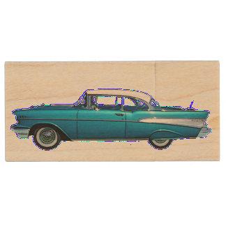 Memoria USB de madera 1957 del coche clásico de