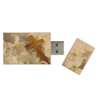 Memoria USB de madera de USB del diseño cruzado y