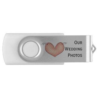 Memoria USB del eslabón giratorio del boda del Pen Drive Giratorio USB 2.0