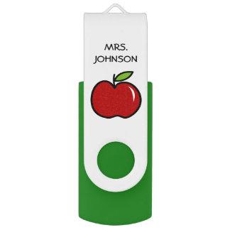 Memoria USB roja de la manzana del profesor de