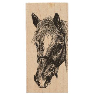 Memoria USB sedosa de madera del arce del caballo Pen Drive De Madera USB 2.0