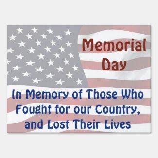 Memorial and Veteran's Day Memorial Flag Yard Sign