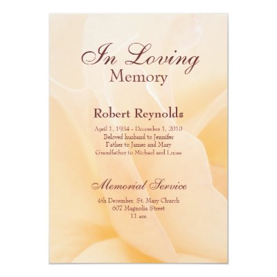 Memorial Service Invitation Announcement Template – Funeral Reception Invitation