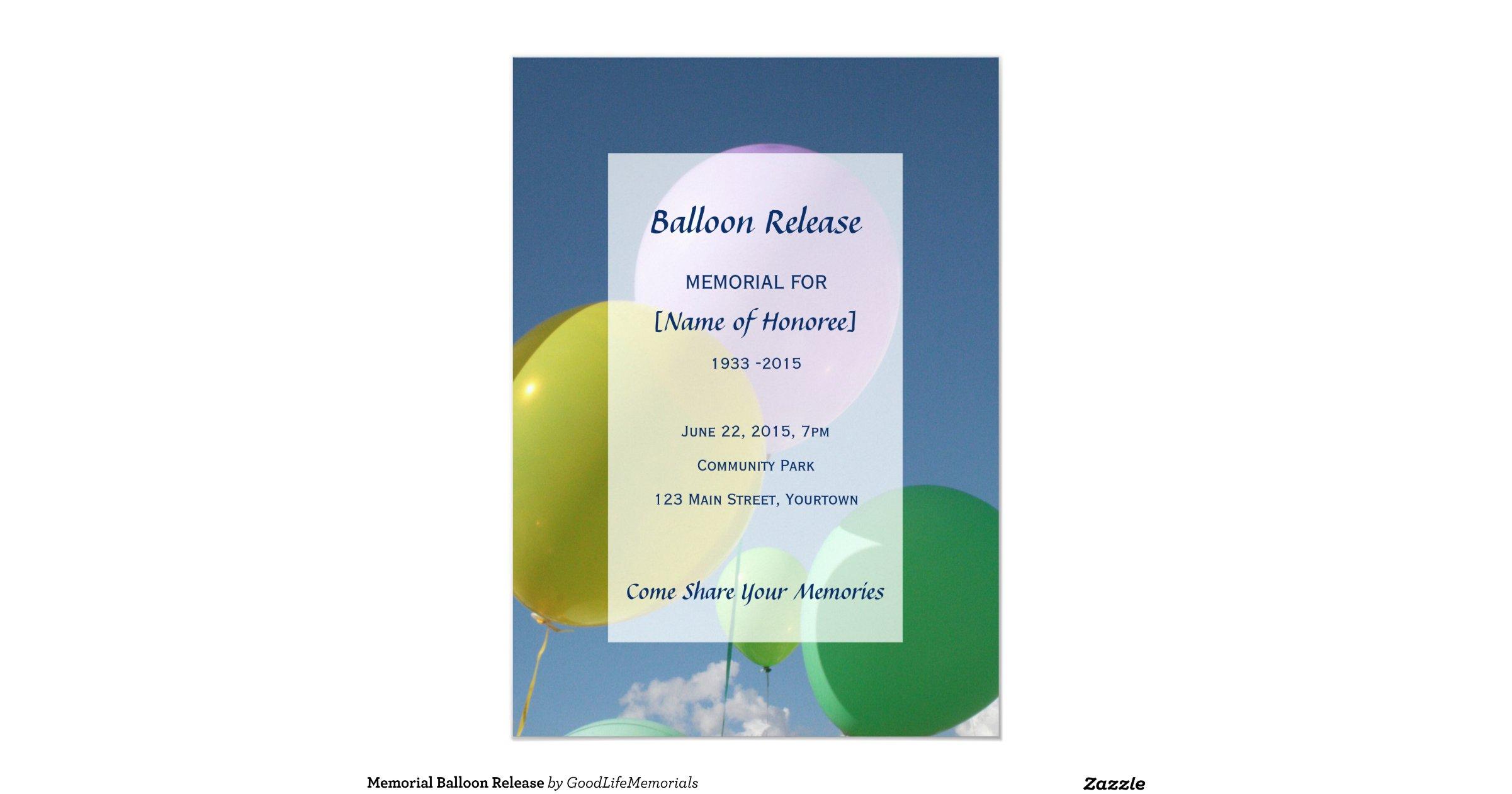 Memorialballoonrelease5x7paperinvitationcard